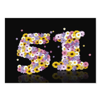 51st Birthday party, with flowered letters 5x7 Paper Invitation Card