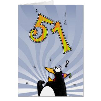 51st Birthday - Penguin Surprise Card