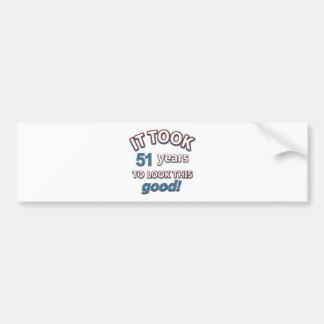 51st year birthday designs bumper stickers