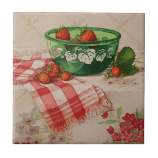 5284 Strawberries in Green Bowl Small Square Tile