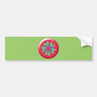 5290_flower HOT PINK LIGHT GREEN PURPLE FLOWER GRA Bumper Stickers