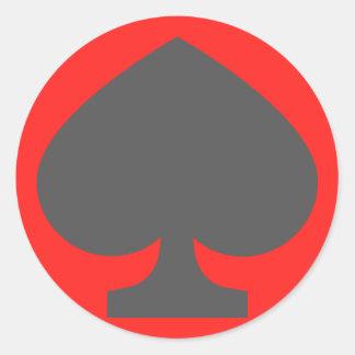 52-card deck Spades Classic Round Sticker
