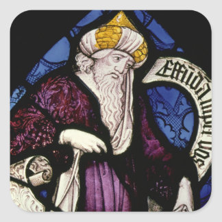 52:Roundel of the prophet Ezekiel, 15th century Square Sticker