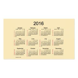 52 Week Calendar 2016 Business Cards
