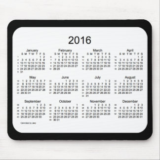 52 Weeks 2016 Calendar Black and White Mousepad
