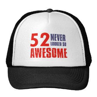 52 year  birthday designs trucker hats