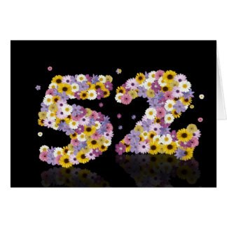 52nd birthday card with flowery letters
