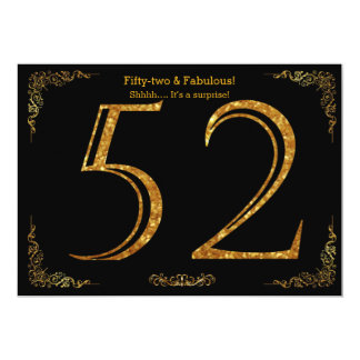 52nd Birthday party,Gatsby styl,black gold glitter 13 Cm X 18 Cm Invitation Card