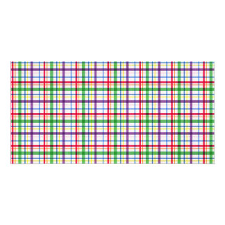 5305_plaid-11-bright COLOURFUL PLAID PATTERN TINY Personalized Photo Card