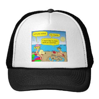 534 work on vacation cartoon trucker hat