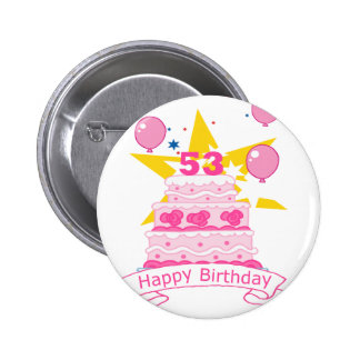 53 Year Old Birthday Cake 6 Cm Round Badge