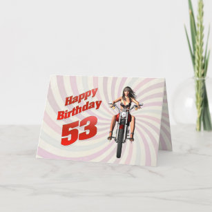 53rd birthday greeting gifts gift ideas zazzle uk 53rd birthday card with a motorbike girl m4hsunfo