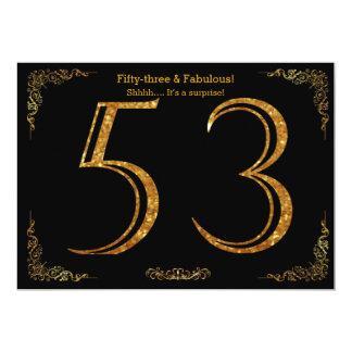 53rd Birthday party,Gatsby styl,black gold glitter Card