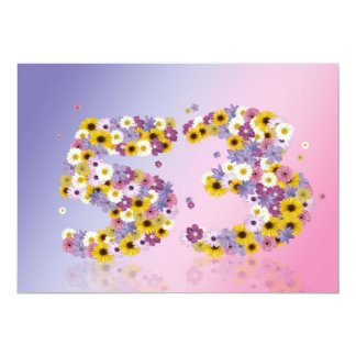 53rd Birthday party, with flowered letters 5x7 Paper Invitation Card