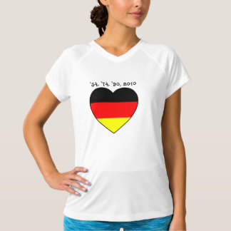 '54, '74, '90, 2010 lady Top with Germany heart Tee Shirts