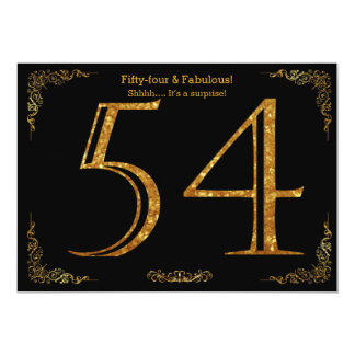 54th Birthday party,Gatsby styl,black gold glitter 13 Cm X 18 Cm Invitation Card