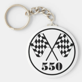 550 Checkered Flags Basic Round Button Key Ring