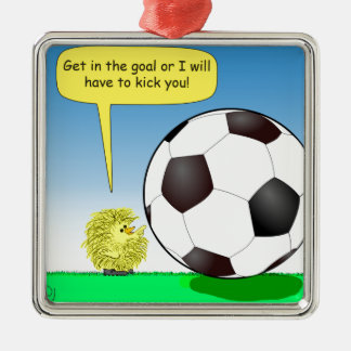 557 chick talking to soccer ball cartoon Silver-Colored square decoration