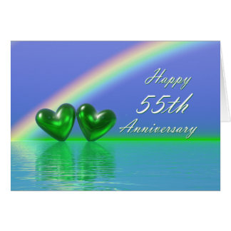 55th Anniversary Emerald Hearts Card