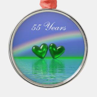 55th Anniversary Emerald Hearts Christmas Ornament