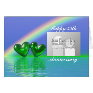55th Anniversary Emerald Hearts (for photo) Card