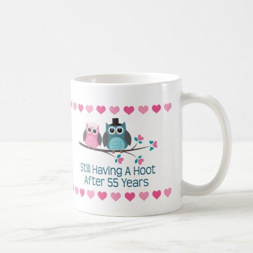 55th Anniversary Owl Couple Mug