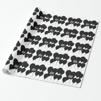 55th birthday, black balloons Gift Paper