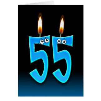 55th Birthday Candles Greeting Card