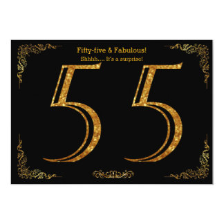 55th Birthday party,Gatsby styl,black gold glitter 13 Cm X 18 Cm Invitation Card