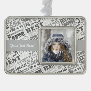 55th Birthday Party Personalised Gifts Silver Plated Framed Ornament
