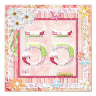 55th birthday party scrapbooking style 13 cm x 13 cm square invitation card