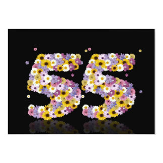 """55th Birthday party, with flowered letters 5"""" X 7"""" Invitation Card"""