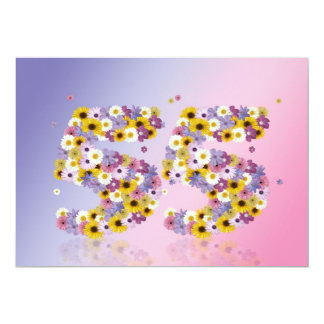 55th Birthday party, with flowered letters 5x7 Paper Invitation Card