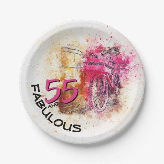 55th Birthday Typography | Magenta Colorsplash Paper Plate