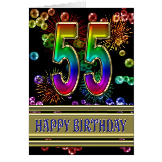 55th Birthday with rainbow bubbles and fireworks Card