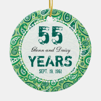 55th Emerald Wedding Anniversary Paisley Monogram Round Ceramic Decoration
