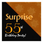 55th Surprise Birthday Black and Gold Diagonal Personalized Invite