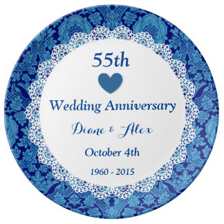 55th Wedding Anniversary BLUE DAMASK Lace D553 Plate