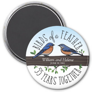 55th Wedding Anniversary, Bluebirds of a Feather 7.5 Cm Round Magnet