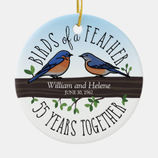 55th Wedding Anniversary, Bluebirds of a Feather Round Ceramic Decoration