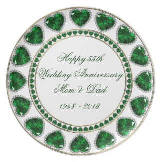 55th Wedding Anniversary Melamine Plate