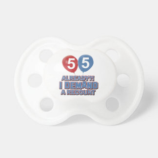 55th year old birthday designs baby pacifiers