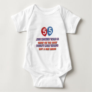 55th year old snow on the roof birthday designs baby bodysuit
