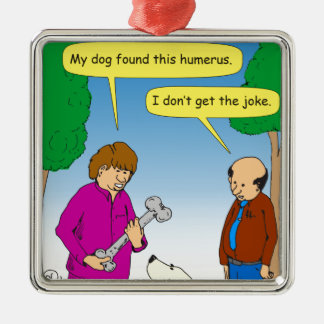 566 My dog found this humorous cartoon Silver-Colored Square Decoration