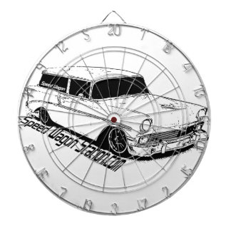 56 Chevy BelAir Station Wagon, Black & White Dartboard With Darts