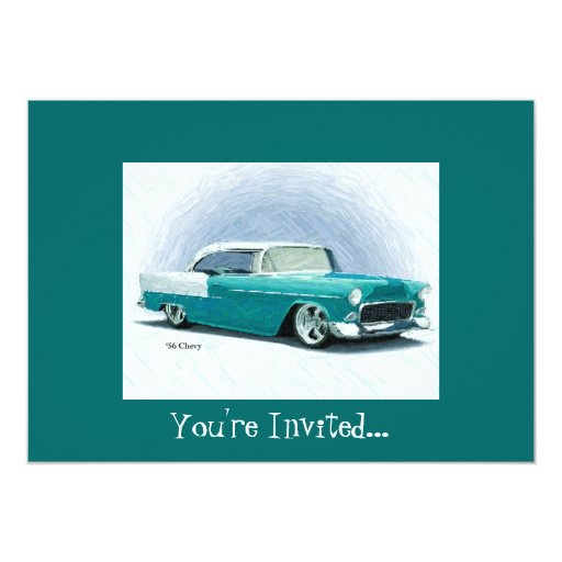 '56 Chevy - Teal Customisable Invitations 13 Cm X 18 Cm Invitation Card