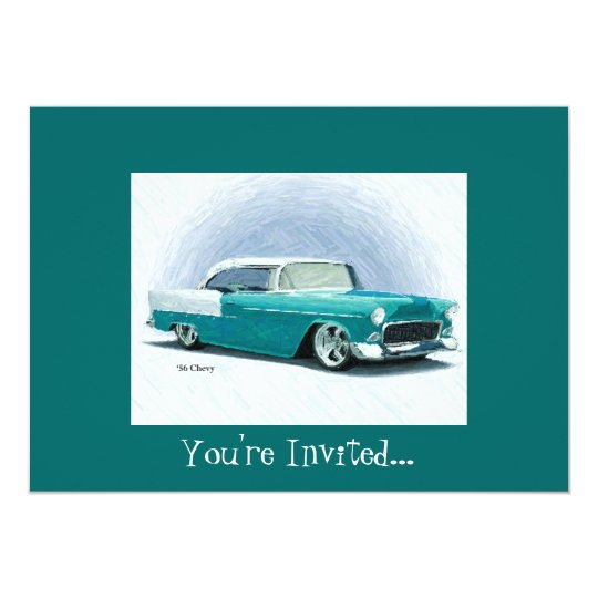 '56 Chevy - Teal Customisable Invitations
