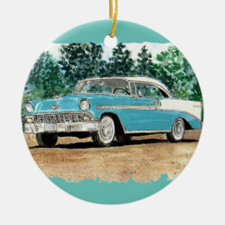 56 Chevy Watercolor Round Ceramic Decoration