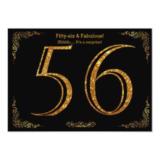 56th Birthday party,Gatsby styl,black gold glitter Card