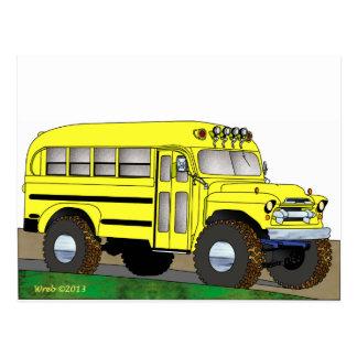 57 Chevrolet Off Road 4X4 School Bus Postcard